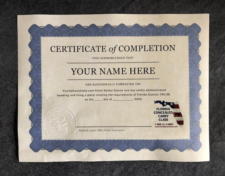 Certificate of Completion Florida Carry Concealed Laws